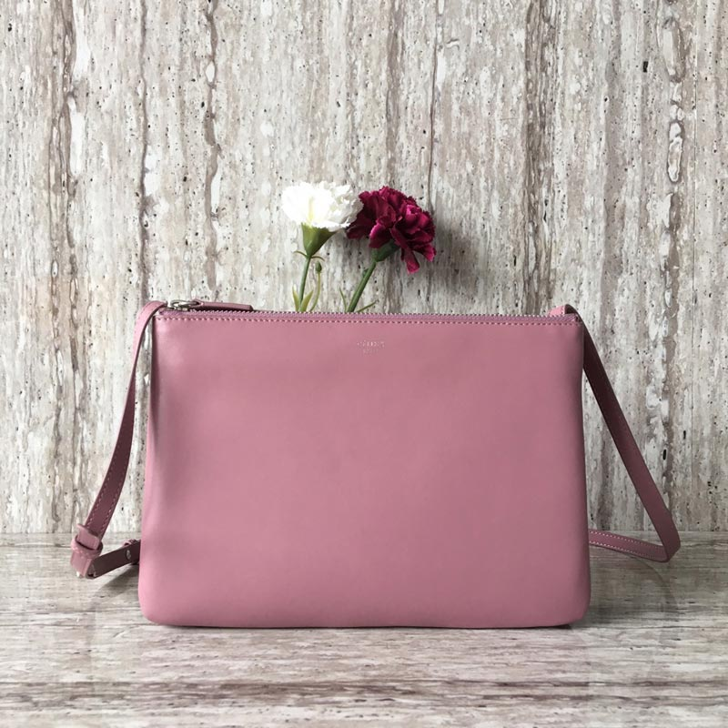 Celine Trio Smooth Lambskin Large Crossbody Bag 187613 Pink