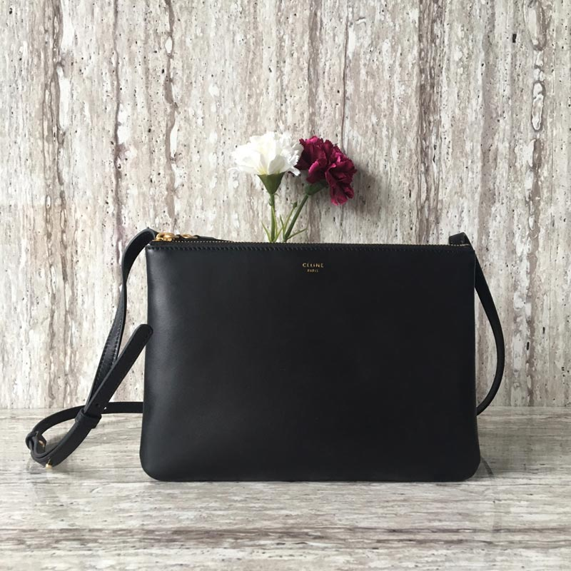 Celine Trio Smooth Lambskin Large Crossbody Bag 187613 Black