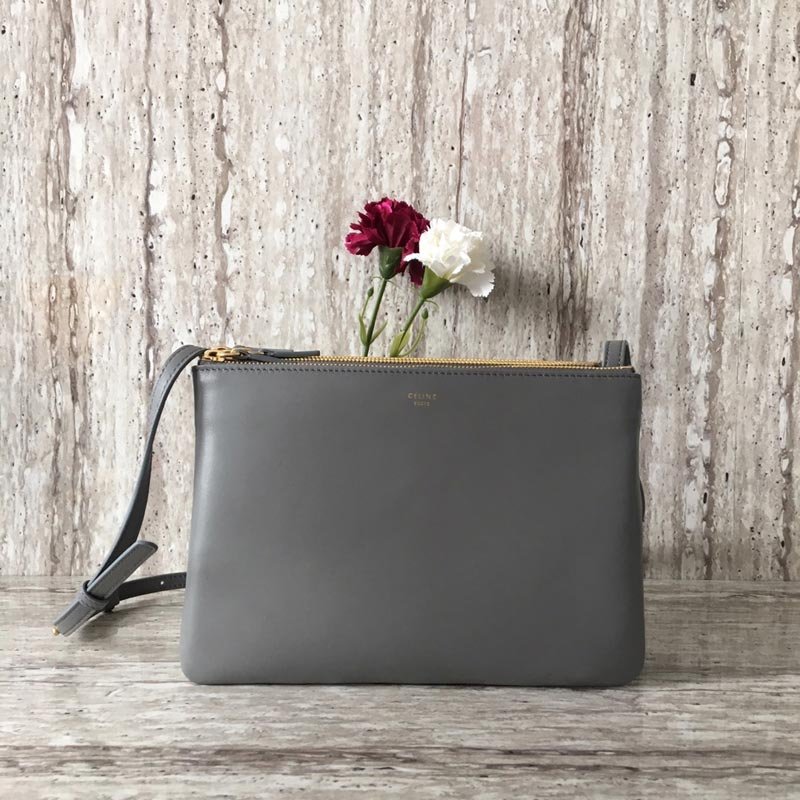Celine Trio Smooth Lambskin Large Crossbody Bag 187613 Grey