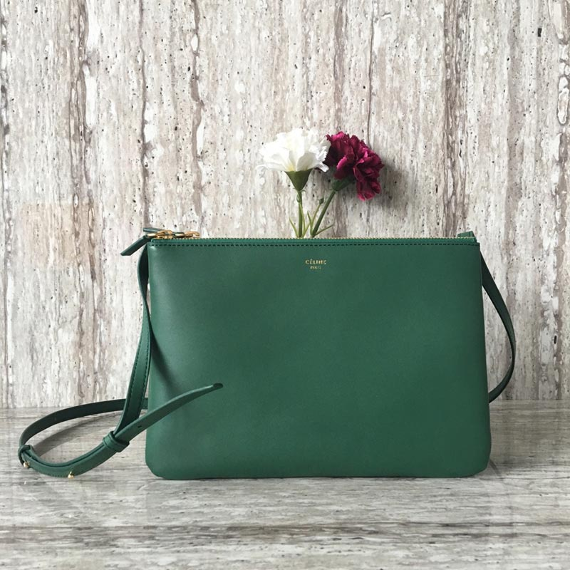Celine Trio Smooth Lambskin Large Crossbody Bag 187613 Green