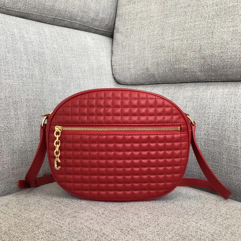 Celine C Medium Quilted Calfskin Charm Bag 188353 Red