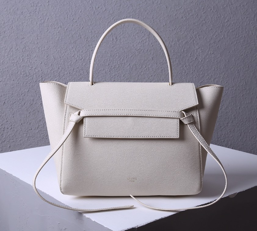 Celine Mini Belt Grained Calfskin Bag 189103 White