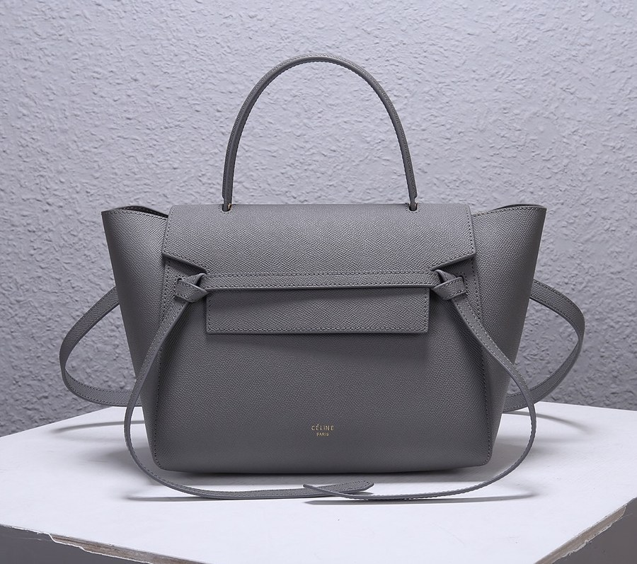 Celine Mini Belt Grained Calfskin Bag 189103 Grey