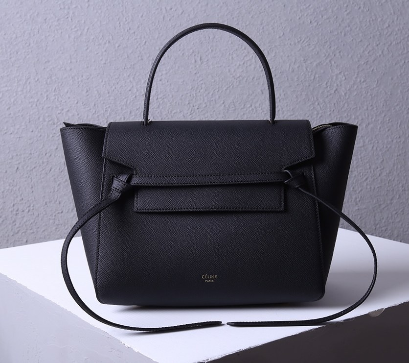 Celine Mini Belt Grained Calfskin Bag 189103 Black