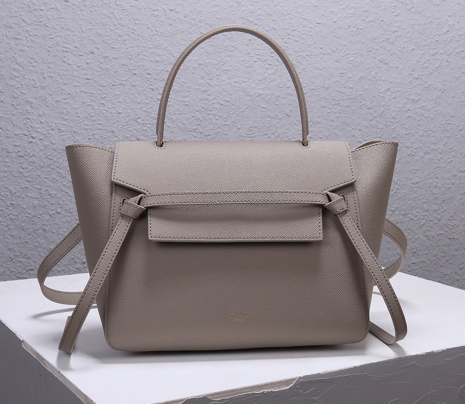 Celine Mini Belt Grained Calfskin Bag 189103 Light Taupe