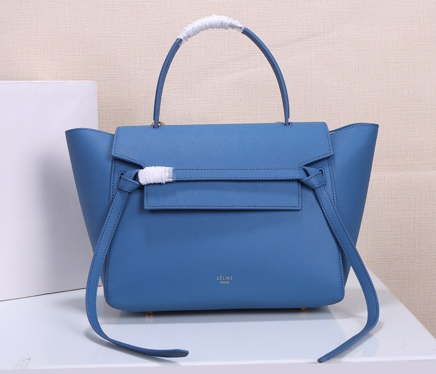 Celine Mini Belt Grained Calfskin Bag 189103 Blue