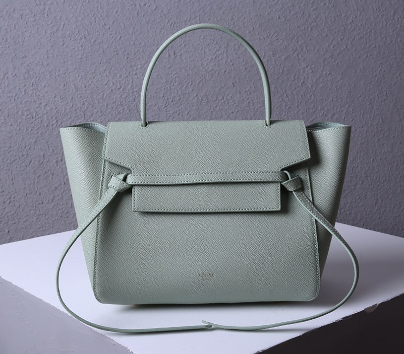 Celine Mini Belt Grained Calfskin Bag 189103 Light Green