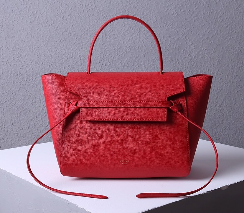Celine Mini Belt Grained Calfskin Bag 189103 Red