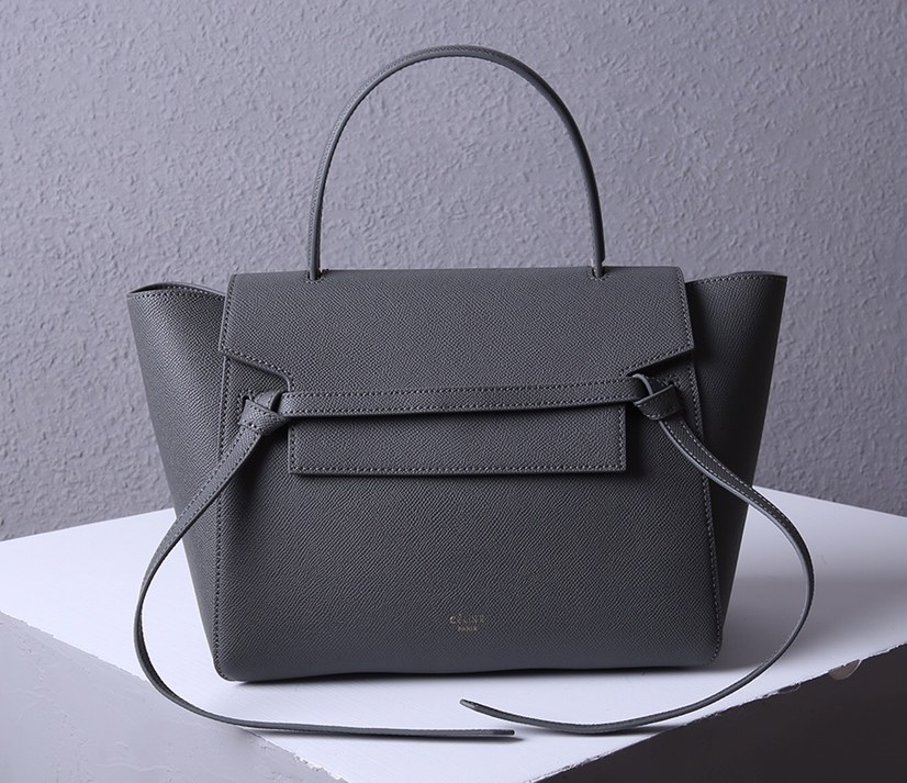 Celine Mini Belt Grained Calfskin Bag 189103 Dark Grey