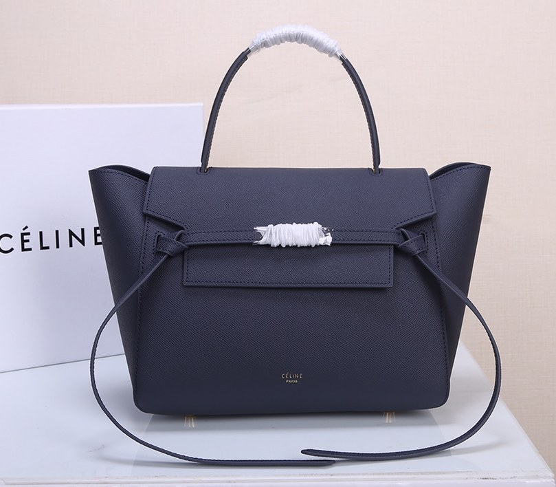Celine Mini Belt Grained Calfskin Bag 189103 Navy Blue