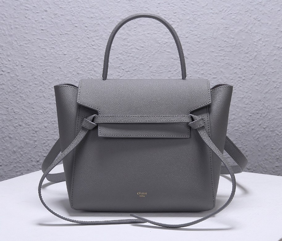 Celine Micro Belt Grained Calfskin Bag 189153 Grey