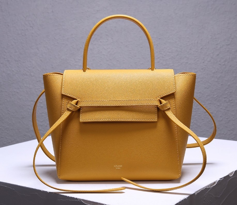Celine Micro Belt Grained Calfskin Bag 189153 Ocre