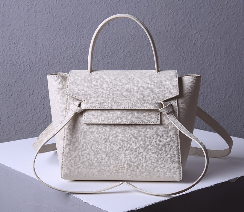 Celine Micro Belt Grained Calfskin Bag 189153 White
