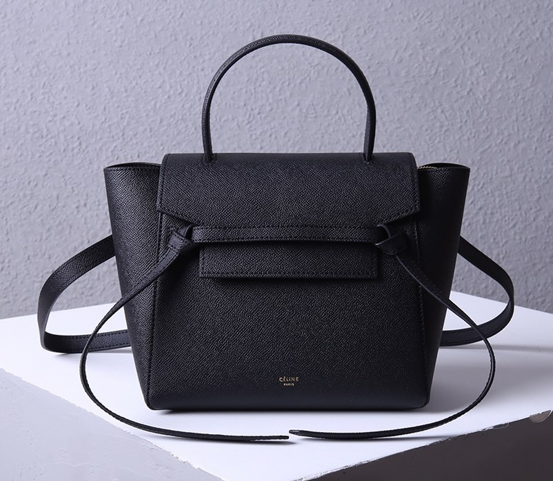 Celine Micro Belt Grained Calfskin Bag 189153 Black