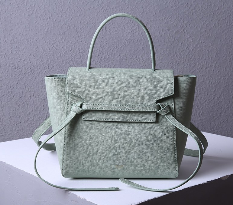 Celine Micro Belt Grained Calfskin Bag 189153 Light Green