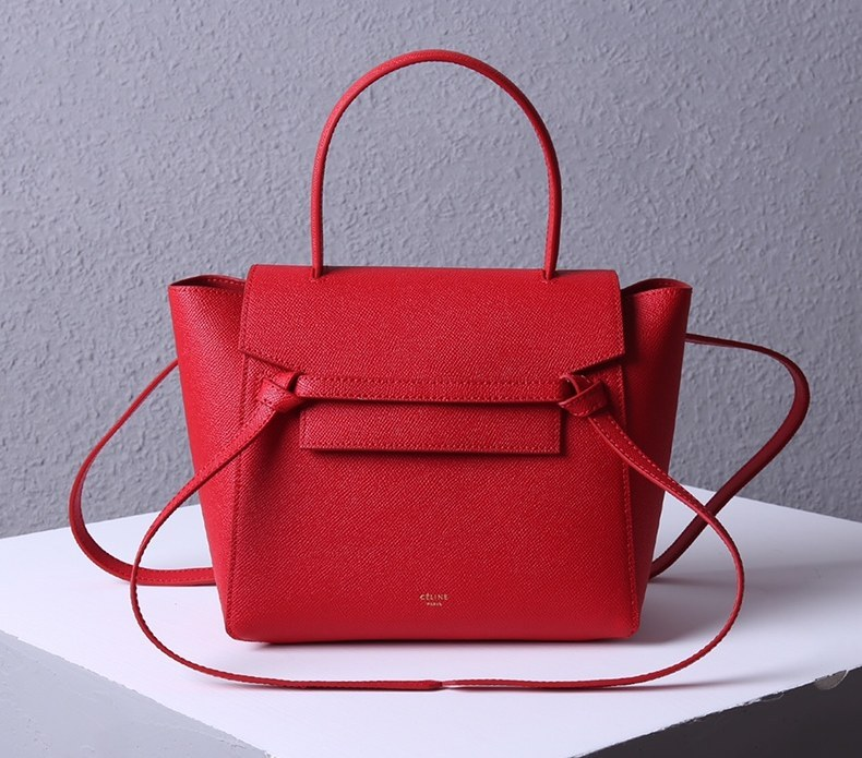 Celine Micro Belt Grained Calfskin Bag 189153 Red