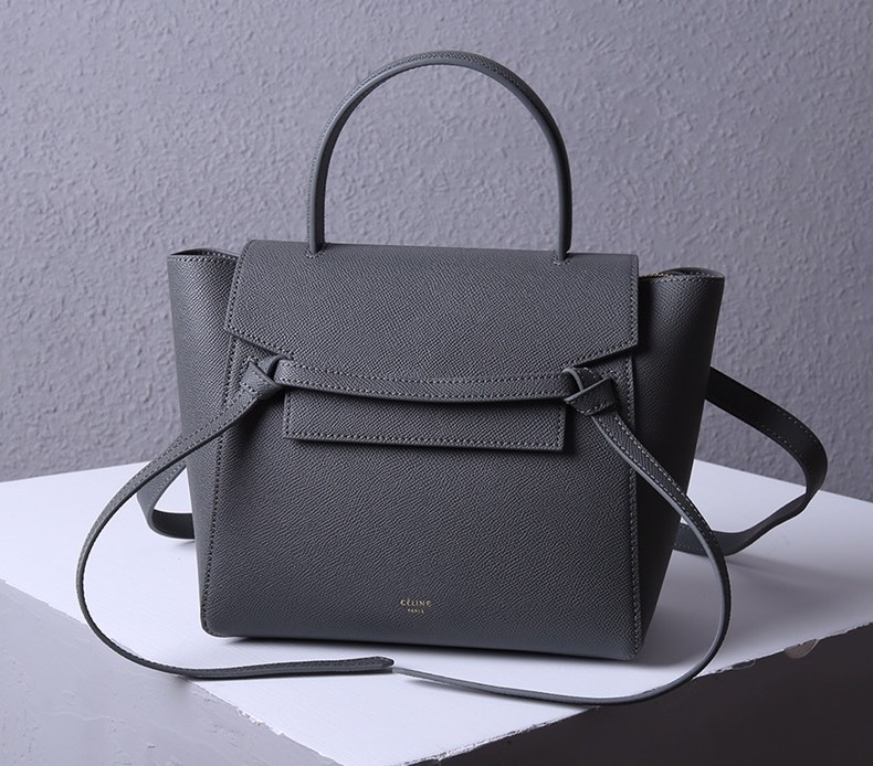 Celine Micro Belt Grained Calfskin Bag 189153 Dark Grey