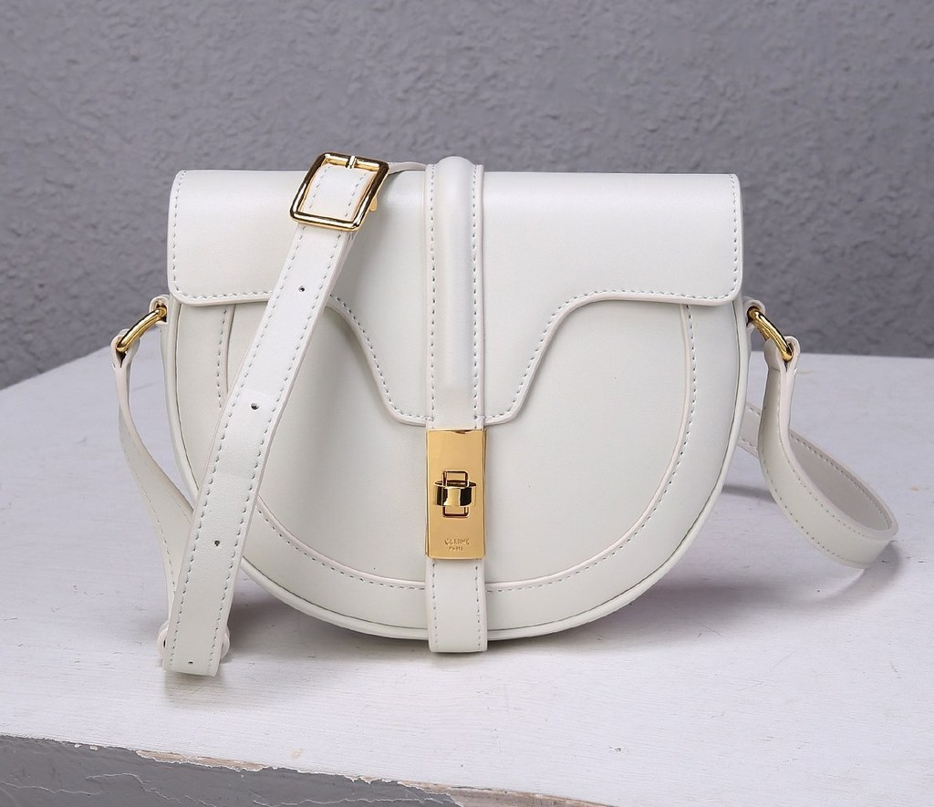 Celine Besace 16 Satinated Calfskin Small Bag 188013 White