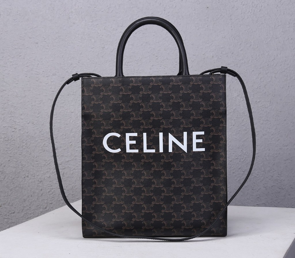 Celine Triomphe Canvas Small Cabas Vertical Tote 191542 Black