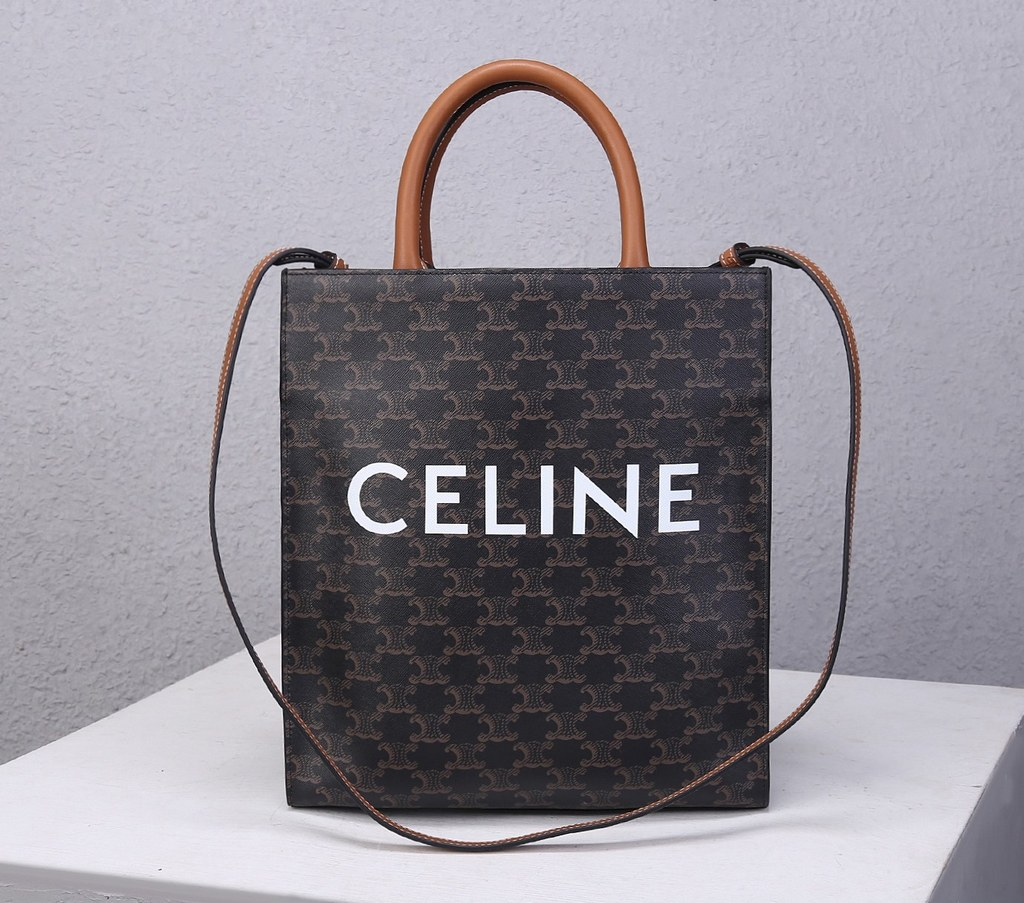 Celine Triomphe Canvas Small Cabas Vertical Tote 191542 Tan