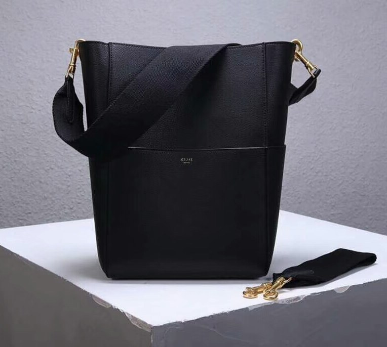 Celine Sangle Soft Grained Calfskin Bucket Bag 176593 Black