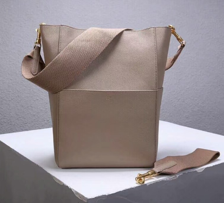 Celine Sangle Soft Grained Calfskin Bucket Bag 176593 Nude Pink
