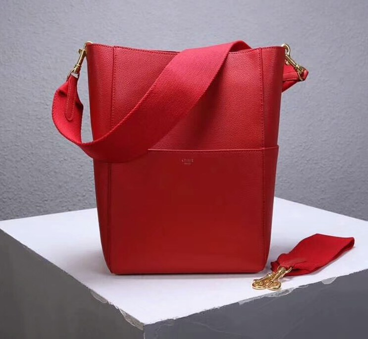 Celine Sangle Soft Grained Calfskin Bucket Bag 176593 Red