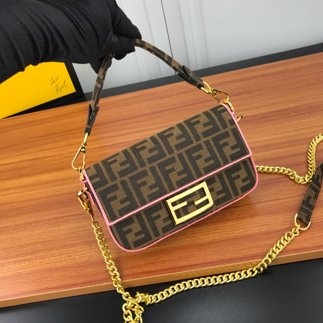 Fendi Roma Amor Fabric Bag 8BR600A Pink Leather