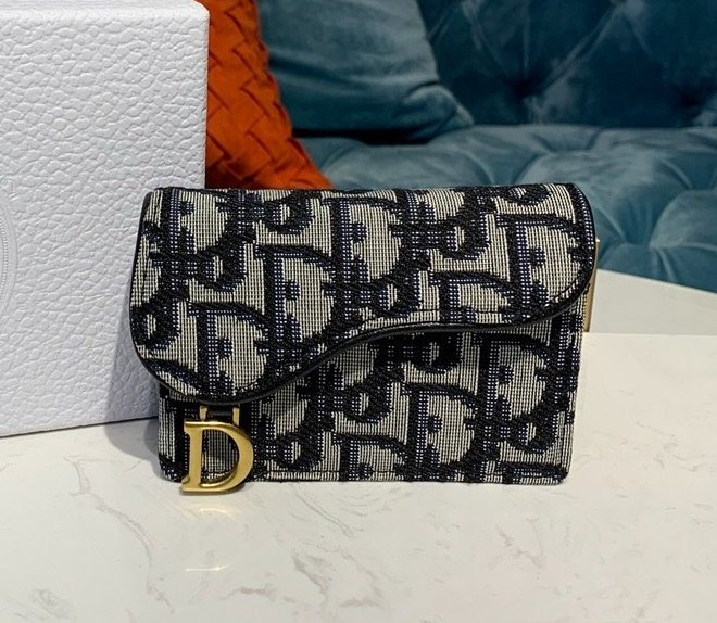 Dior Oblique Saddle Card Holder S5611 Black