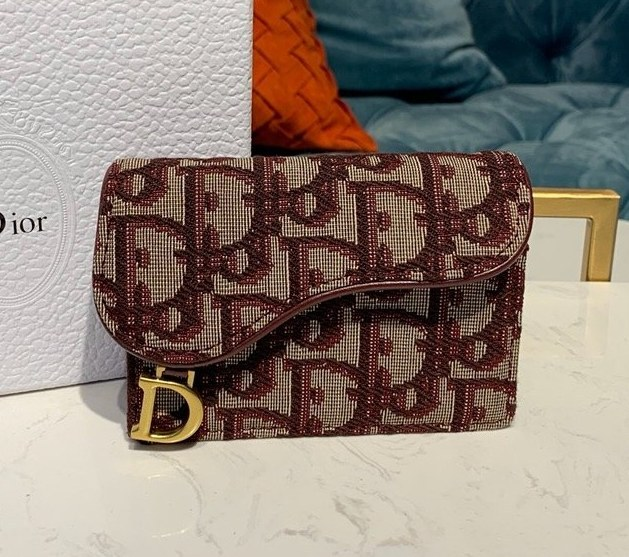 Dior Oblique Saddle Card Holder S5611 Burgundy