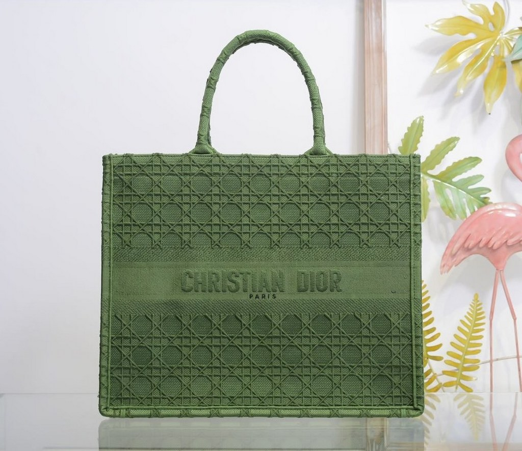 Dior Book Oblique-embroidered Canvas Tote Bag M1286ZW Green