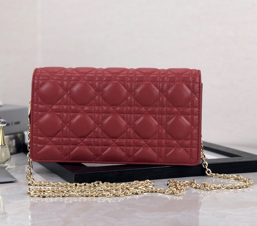 Dior Lady Lambskin Clutch S0204O Red