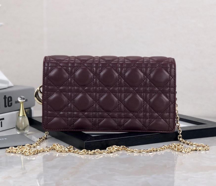 Dior Lady Lambskin Clutch S0204O Wine