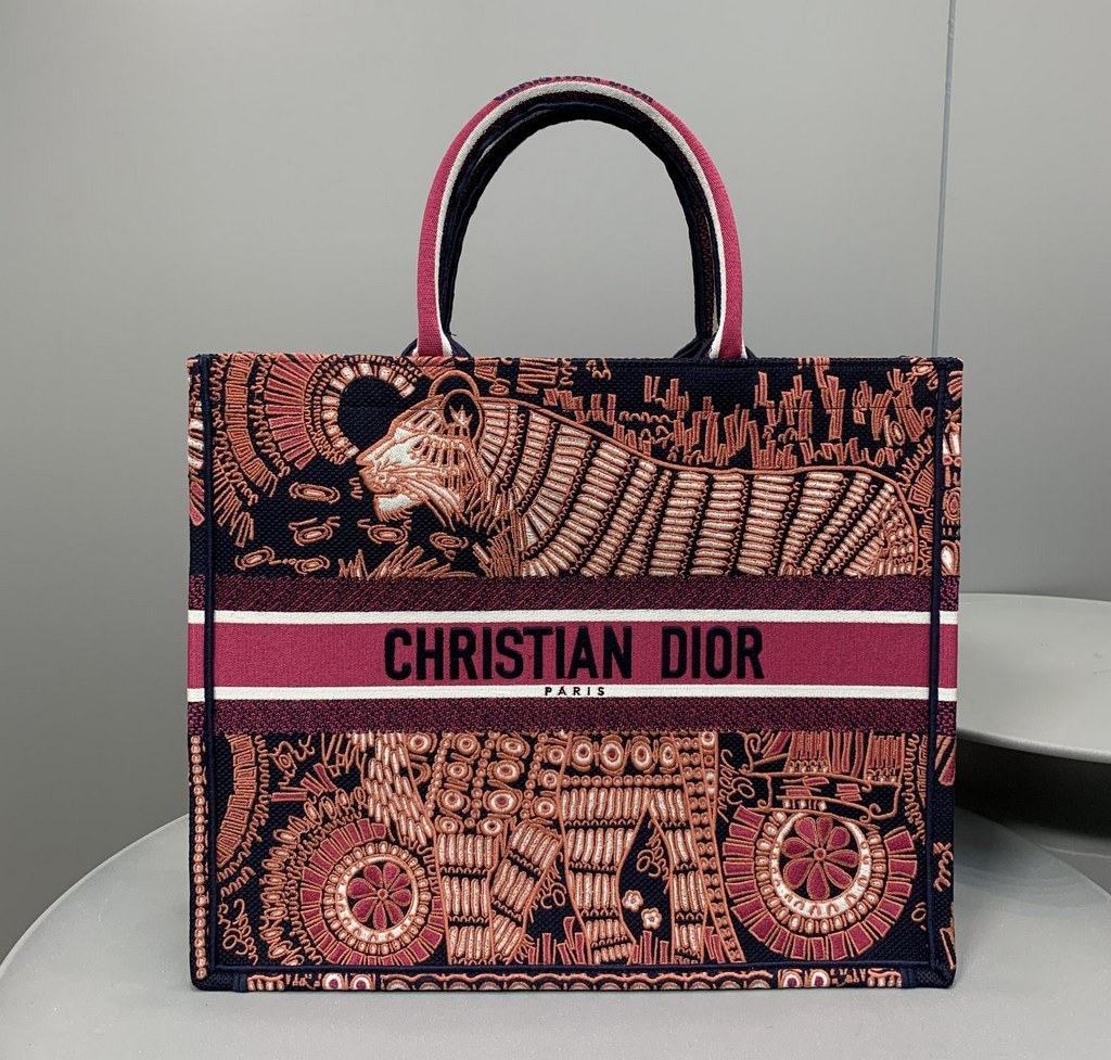 Dior Book Animals Embroidered Canvas Tote Bag M1286ZWAO Fuchsia