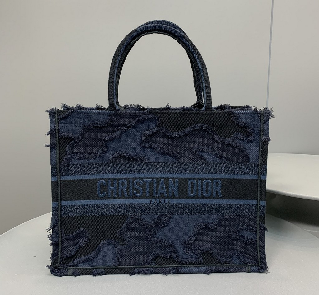 Dior Book Camouflage Embroidered Canvas Small Tote M1296 Blue