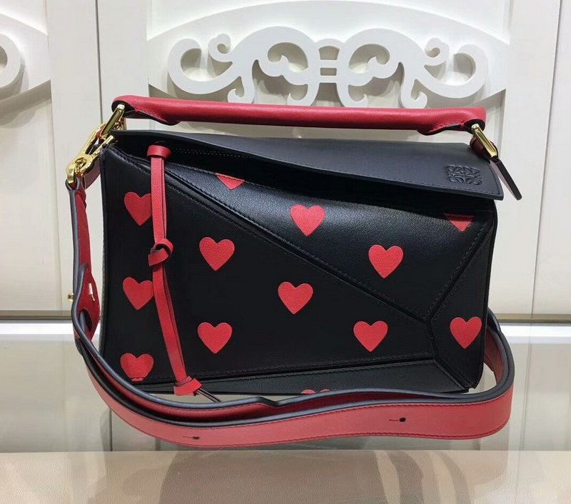 Loewe Puzzle Heart Small Bag LO11208S Black