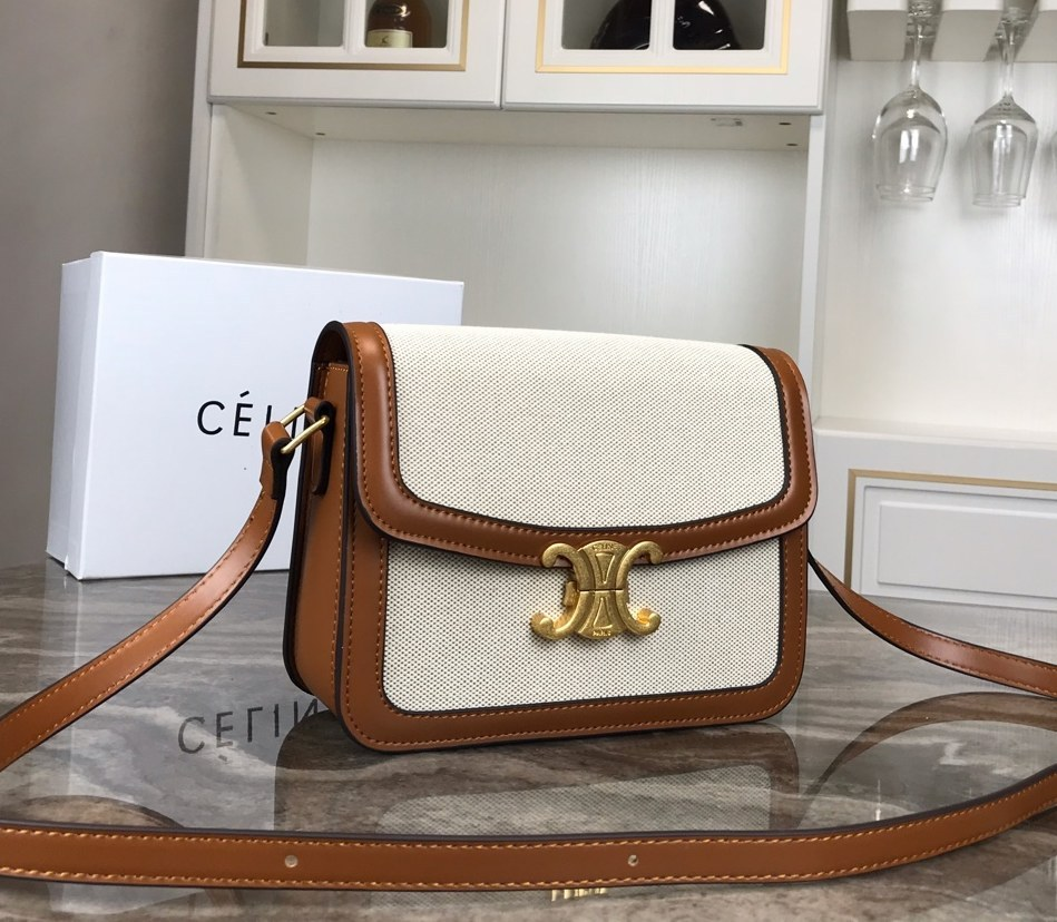 Celine Triomphe Textile Shoulder Bag 188872 Brown Leather