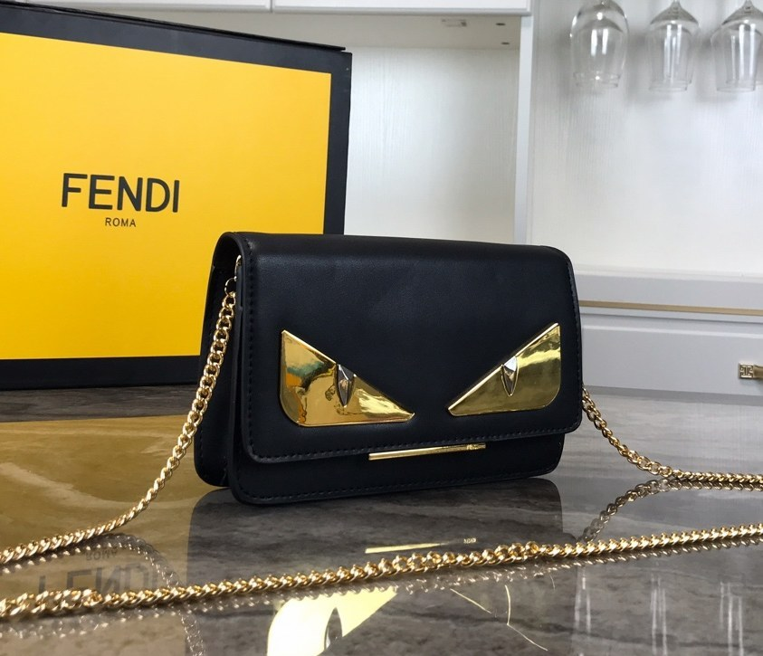 Fendi Calfskin Chain Wallet 8M03463A Black