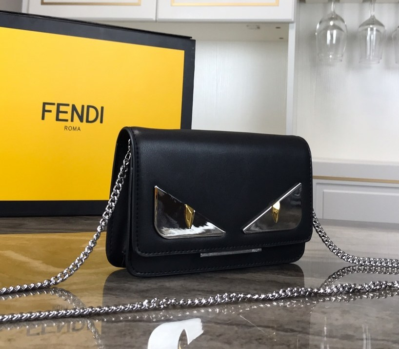 Fendi Calfskin Chain Wallet 8M03463B Black