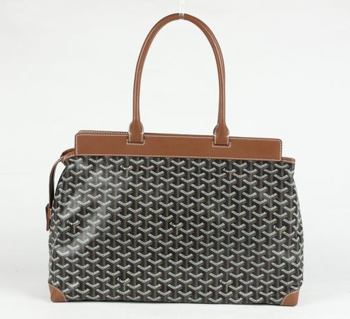 Goyard Zippered Tote Bag 8959 Black/Brown
