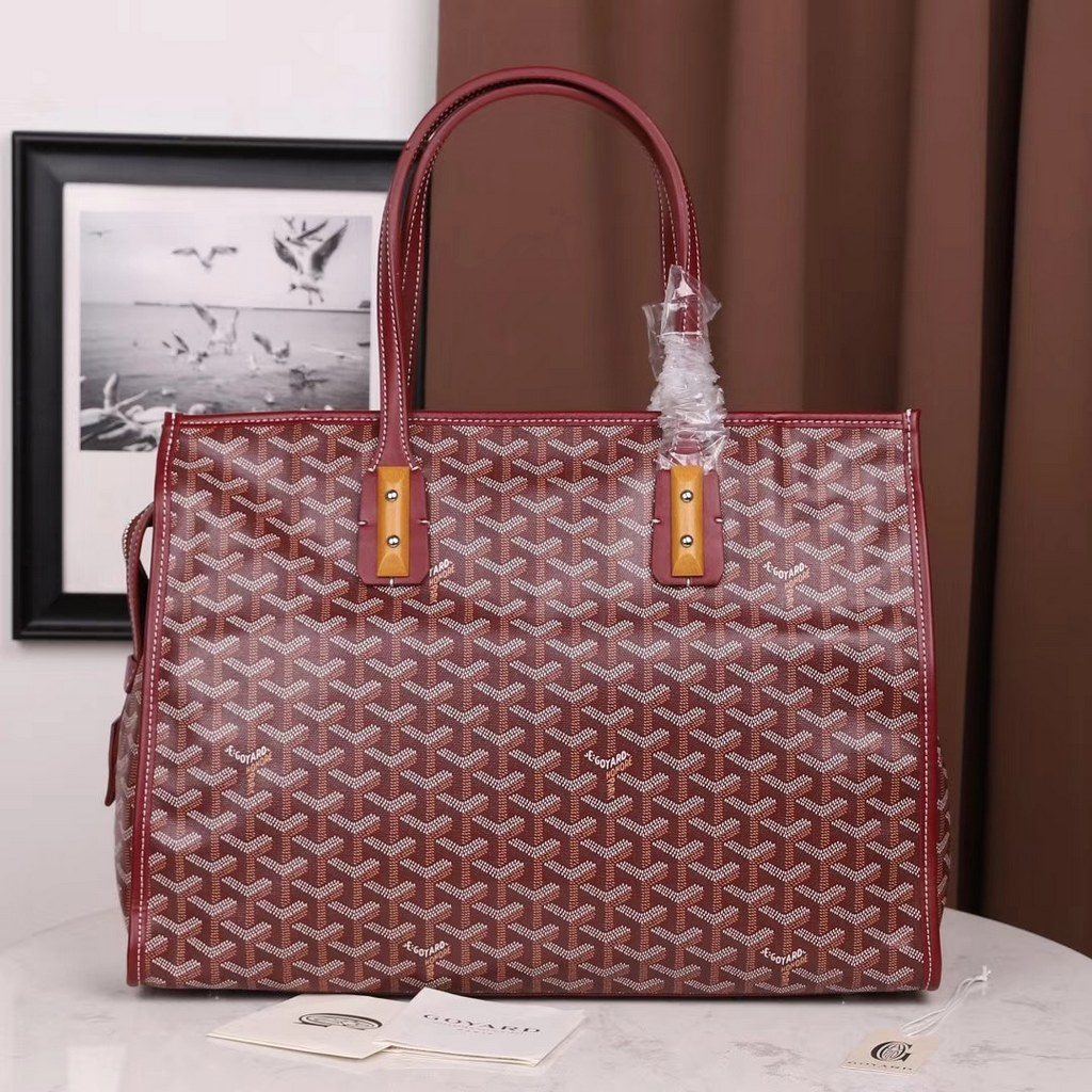 Goyard Sac Marquises Zippered With Wooden Tote Bag GO4035 Wine