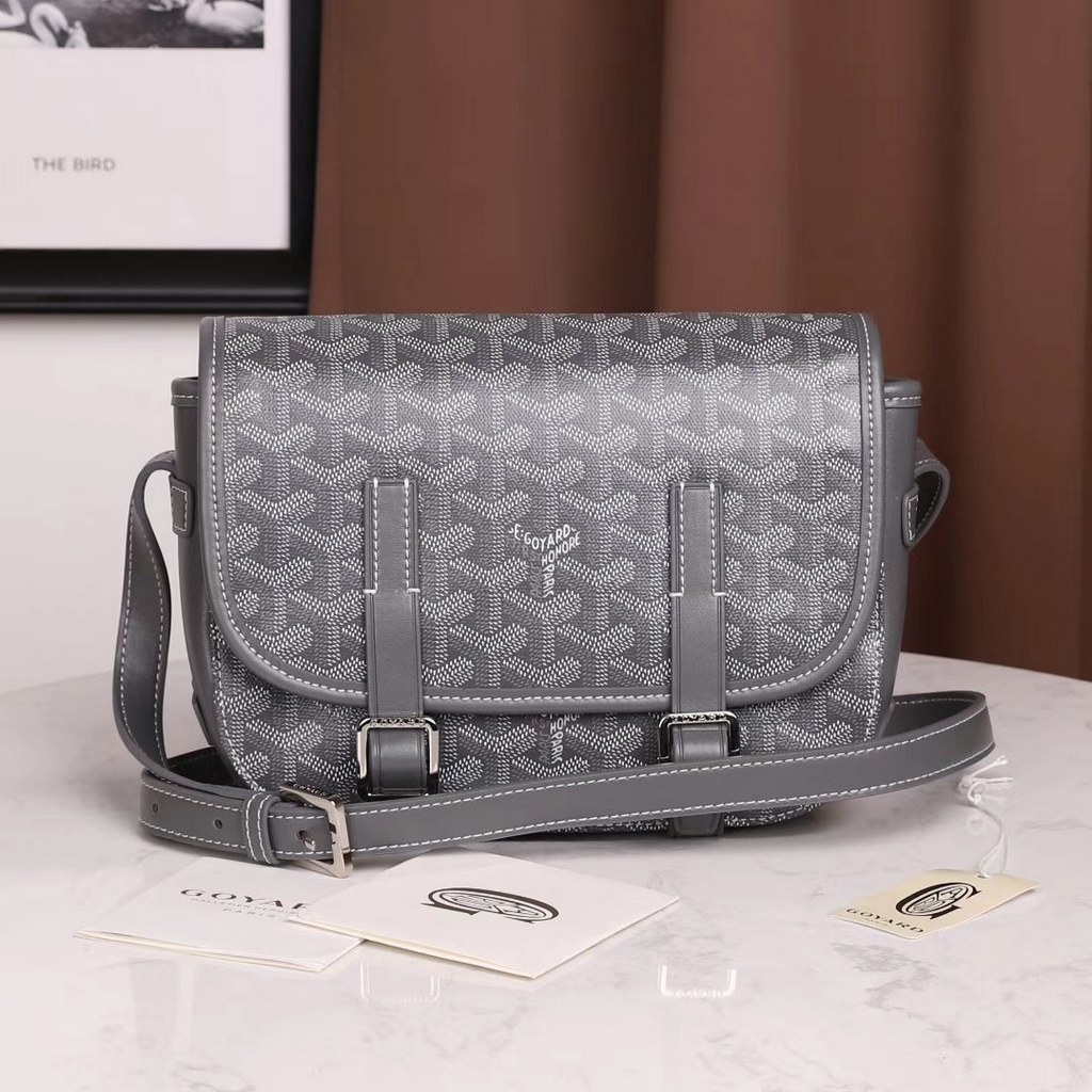 Goyard Belvedere Chevron PM Messenger Bag G8967 Grey