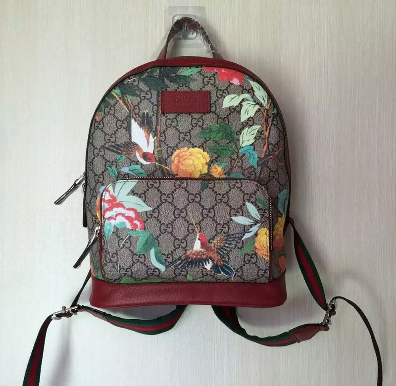 Gucci Tian GG Supreme Small Backpack 427042 Red Leather  427042 Red ... 38a879b028
