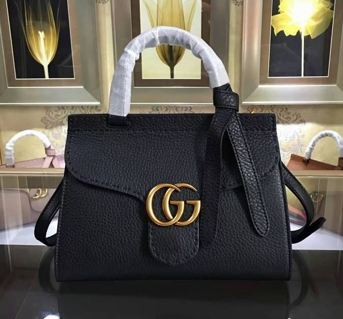 7d55a09cf550 Gucci GG Marmont Leather Top Handle Mini Bag 442622 Black [442622 ...
