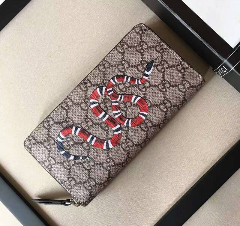 19d09639f8a Gucci Snake Print GG Supreme Zip Around Wallet 451273  451273  -  79 ...
