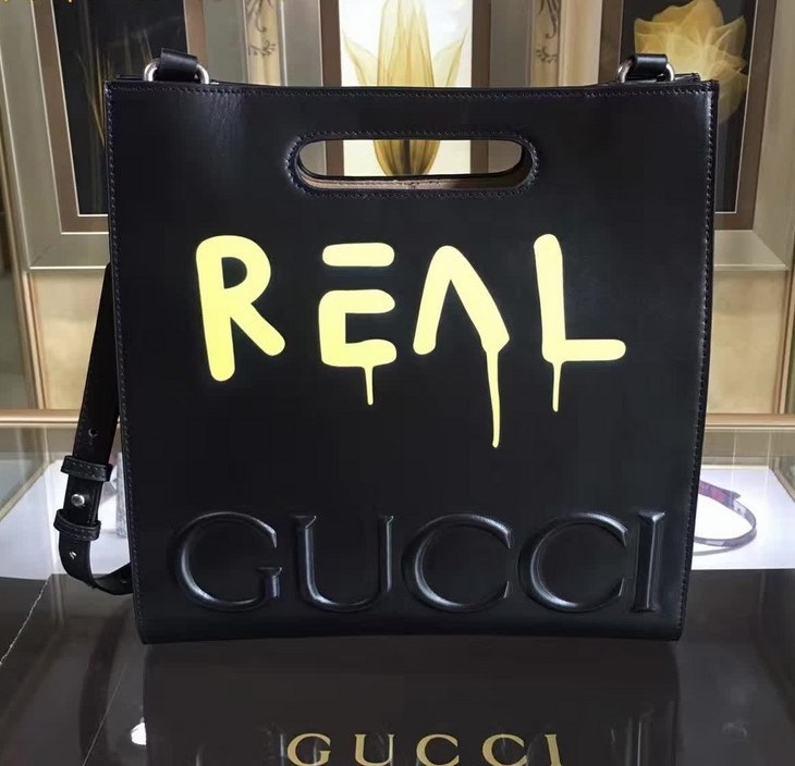 Gucci GucciGhost Leather Tote 414476 Black(Yellow)