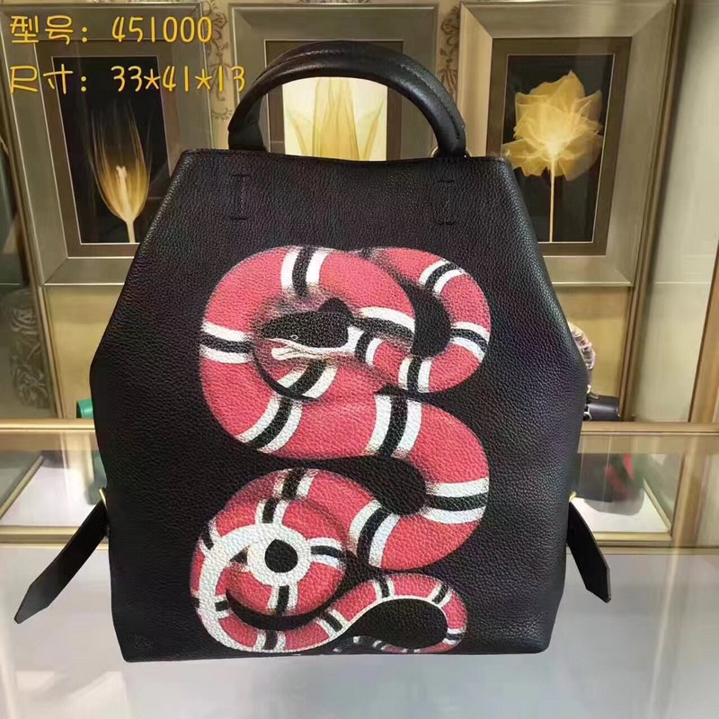 29648f02e209f5 Gucci Kingsnake Print Leather Backpack 451000 Black [451000 Black ...
