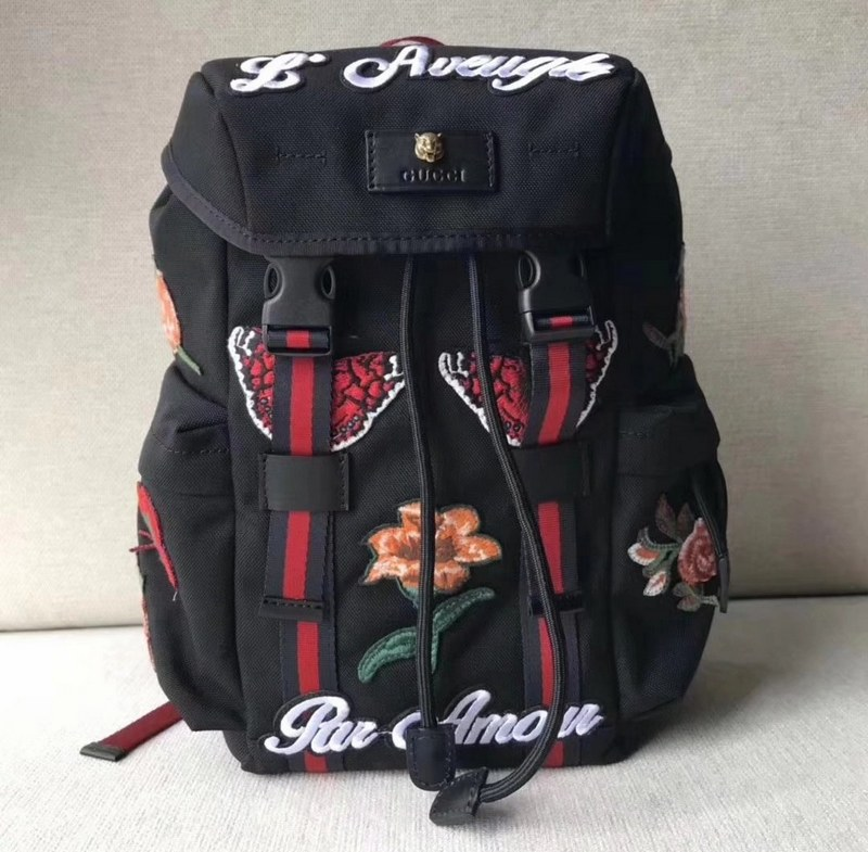 Gucci Backpack with Embroidery 478327 Black