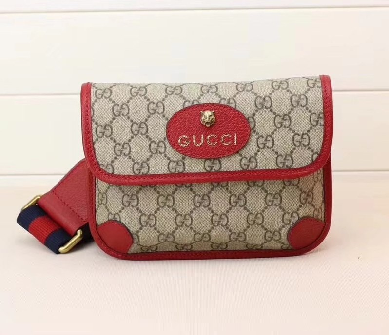 Gucci GucciTotem GG Supreme Nessenger 489617 Red Leather
