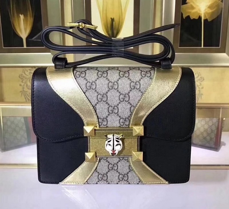 Gucci Osiride Small GG Shoulder Bag 497995 Black&Gold Leather